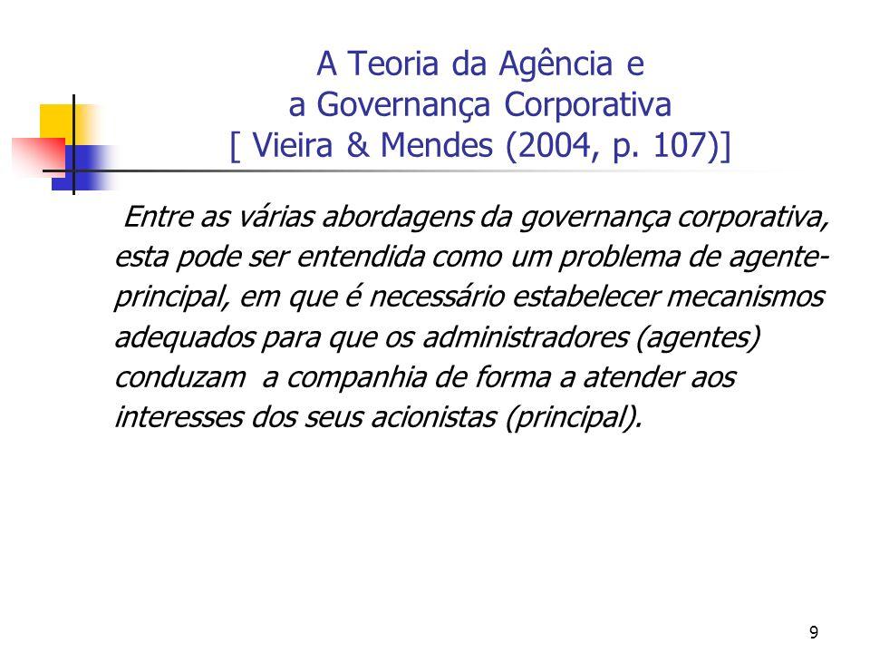 A Teoria da Agência e a Governança Corporativa [ Vieira & Mendes (2004, p. 107)]